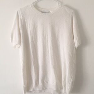 Alfred Dunner White Trellis T-shirt Sweater